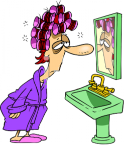 cartoon woman in mirror