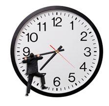 man climbing clock